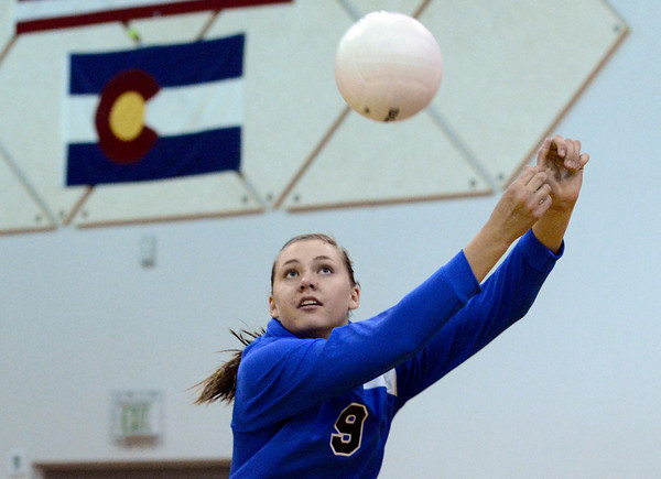 "Broomfield High School's Hanna Boyer saves a ball during a volleyball match against Thompson Valley High School on Tuesday, Oct. 23, in Broomfield. For more photos of the game go to  <a href=""http://www.dailycamera.com"">http://www.dailycamera.com</a><br /> Jeremy Papasso/ Camera"