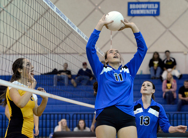"Broomfield High School's Monro Obenauer sets up a teammate for a kill during a volleyball match against Thompson Valley High School on Tuesday, Oct. 23, in Broomfield. For more photos of the game go to  <a href=""http://www.dailycamera.com"">http://www.dailycamera.com</a><br /> Jeremy Papasso/ Camera"