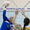 "Broomfield High School's Hanna Boyer goes for a kill over Emily Newton during a volleyball match against Thompson Valley High School on Tuesday, Oct. 23, in Broomfield. For more photos of the game go to  <a href=""http://www.dailycamera.com"">http://www.dailycamera.com</a><br /> Jeremy Papasso/ Camera"