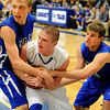 Longmont High School senior Mikal Merrill tries to call a time-out late in the 4th period of the basketball game against Broomfield High School on Friday, Jan. 14, in Longmont. Broomfield defeated Longmont 68-62.<br /> Photo by Jeremy Papasso