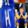 Broomfield High School senior Chris Maddock prays for some points as a teammate shoots a free-throw late in the 4th period of the basketball game against Longmont High School on Friday, Jan. 14, in Longmont. Broomfield defeated Longmont 68-62.<br /> Photo by Jeremy Papasso