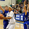Longmont High School senior Marcus Donaldson drives towards the hoop during a basketball game against Broomfield High School on Friday, Jan. 14, in Longmont. Broomfield defeated Longmont 68-62.<br /> Photo by Jeremy Papasso