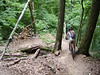 A mountain biker navigates a tight switchback on the Hesitation Point trail in the Brown County State Park mountain bike trail system near Nashville, IN.