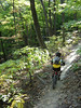 Brown County State Park is a great place to take kids mountain biking.  This six-year old rides the North Tower Loop.