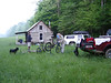 These mountain bikers prepare for a morning ride at a cabin in Brown County, Indiana.