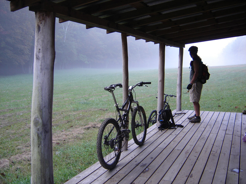 Preparing to depart a rustic Brown County cabin on a foggy morning mountain bike ride near Nebo Ridge and Story, IN.