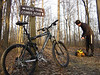 The rising sun provides some much needed warmth on this winter mountain bike ride on the Nebo Ridge Trail near Story, IN.