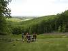 These mountain bikers stop for a rest after the long climb up the Hesitation Point Trail in Brown County State Park.