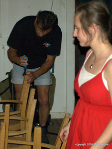 Service Trip on Brule Lake Trail.   Dave and Claire replace the worn out sliders on the chairs in the cabin.