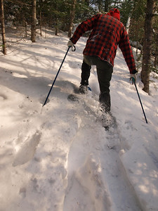 After crossing a creek comes a nasty and very steep hillside.   Ski poles come in handy and sink 30 inches deep into the snow.