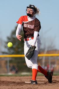 Buckeye Junior pitcher Kayla Whitmer throws against Firelands in the third inning. AARON JOSEFCZYK/GAZETTE