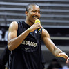 University of Colorado's Spencer Dinwiddie jokes about his teammates during Buff Madness on Friday, Oct. 12, at the Coors Event Center on the CU campus in Boulder. <br /> Jeremy Papasso/ Camera