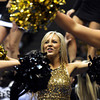 University of Colorado Dance Team member Becky Harhigh, center, performs for the crowd during Buff Madness on Friday, Oct. 12, at the Coors Event Center on the CU campus in Boulder. <br /> Jeremy Papasso/ Camera