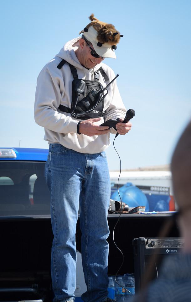 RD Jim Skaggs checks his notes, along with his hat buddy.  Photo:  Dondi