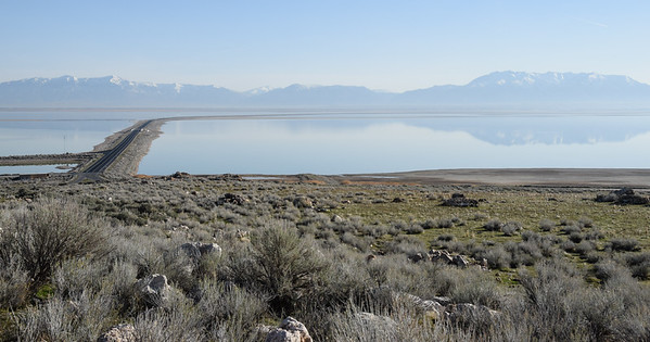 View of the causeway across the Great Salt Lake from the visitor center.
