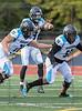 Seguin QB #9 Xavion Brice takes a high snap as his linemen #71 Ali Khalil and #54 Quinton Harris provide blocking. <br /> Burleson High vs Arlington Seguin Football, Sept. 24th, 2021