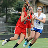 "Centaurus High School's Sarah Cousins (14) defends against Regis Jesuit High School's Taylor Walker (5) during their game in Lafayette Thursday. <br /> For more photos from the game go to  <a href=""http://www.bocopreps.com"">http://www.bocopreps.com</a><br /> Photo by Paul Aiken / The Camera / April 12, 2011"