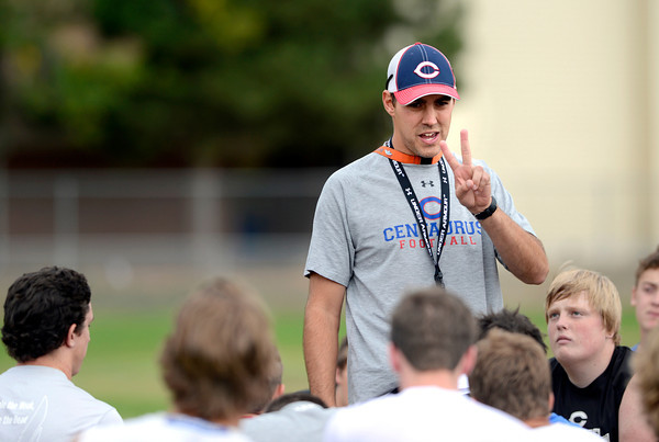 "Chad Senseney, Head Coach & Defensive Coordinator at Centaurus High School during a practice of the Centaurus High School football team at the school in Lafayette Friday Evening August 24, 2012. For more photos of the practice go to  <a href=""http://www.bocopreps.com"">http://www.bocopreps.com</a><br /> Photo by Paul Aiken"