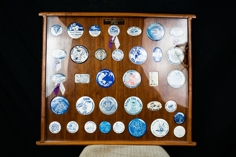 1958-92 CHS Cosmos Homecoming Button Collection Donated by Eris Sharpe