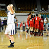 """Legacy High School junior Emily Glen, left, walks off in disbelief as the Regis team celebrates their win on Friday, March 4, in a game against Regis Jesuit High School during the Colorado High School """"Great 8"""" tournament at the Denver Coliseum. Legacy lost the game 59-67. For more photos go to  <a href=""""http://www.dailycamera.com"""">http://www.dailycamera.com</a><br /> Jeremy Papasso/ Camera"""