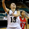 """Legacy High School senior Taylor Archuleta drives to the basket on Friday, March 4, in a game against Regis Jesuit High School during the Colorado High School """"Great 8"""" tournament at the Denver Coliseum. Legacy lost the game 59-67. For more photos go to  <a href=""""http://www.dailycamera.com"""">http://www.dailycamera.com</a><br /> Jeremy Papasso/ Camera"""
