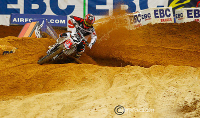 Chad Reed exiting the sand section at the Atlanta supercross, Atlanta, GA, Georgia Dome