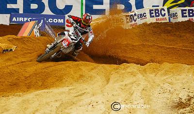 Chad Reed exiting the sand section at the Atlanta supercross, Atlanta, GA, Georgia Dome