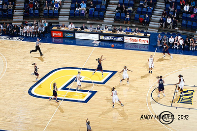 A shot from the nose bleed section from a UTC lady Mocs basketball game, McKenzie Arena, Chattanooga TN