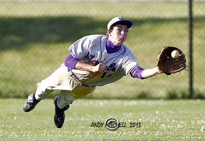 A Sequatchie County outfielder makes a diving catch during the TSSAA High School baseball playoffs