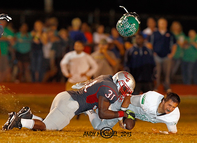 East Hamilton High School Qb being sacked by an Ooltewah defensive player in a Chattanooga area High School Football game