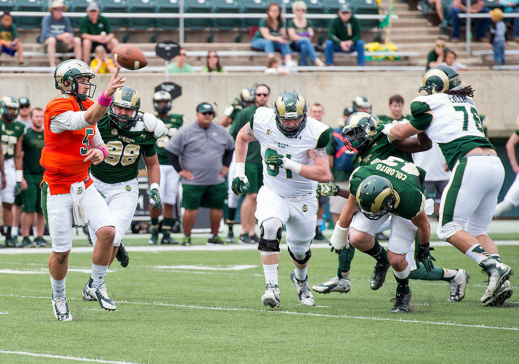 . Colorado State quarterback Faton Bauta (5) throws an outlet pass as the pocket breaks down Saturday afternoon April 23, 2016 during the 2016 Green and Gold Spring Game at Hughes Stadium in Fort Collins. (Photo by Michael Brian/Loveland Reporter-Herald)