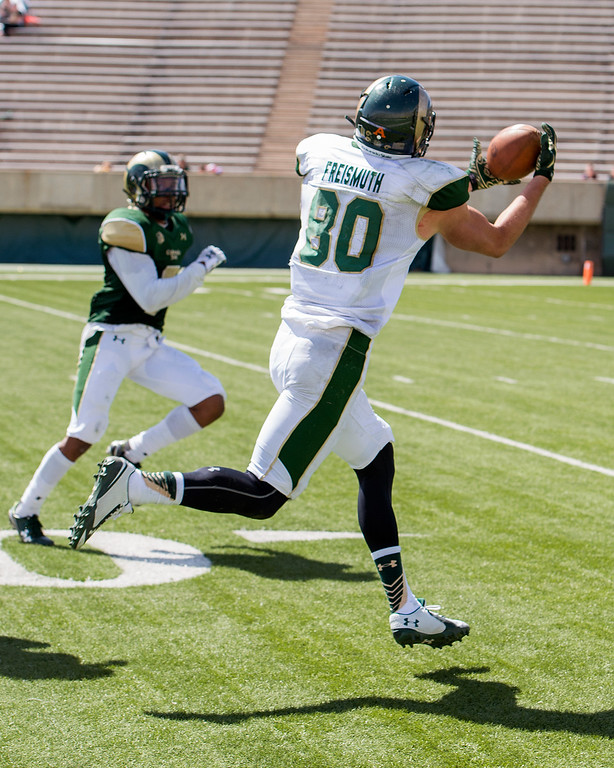 . Rams wide receiver John Freismuth (80) snags a deep pass Saturday afternoon April 23, 2016 during the 2016 Green and Gold Spring Game at Hughes Stadium in Fort Collins. (Photo by Michael Brian/Loveland Reporter-Herald)