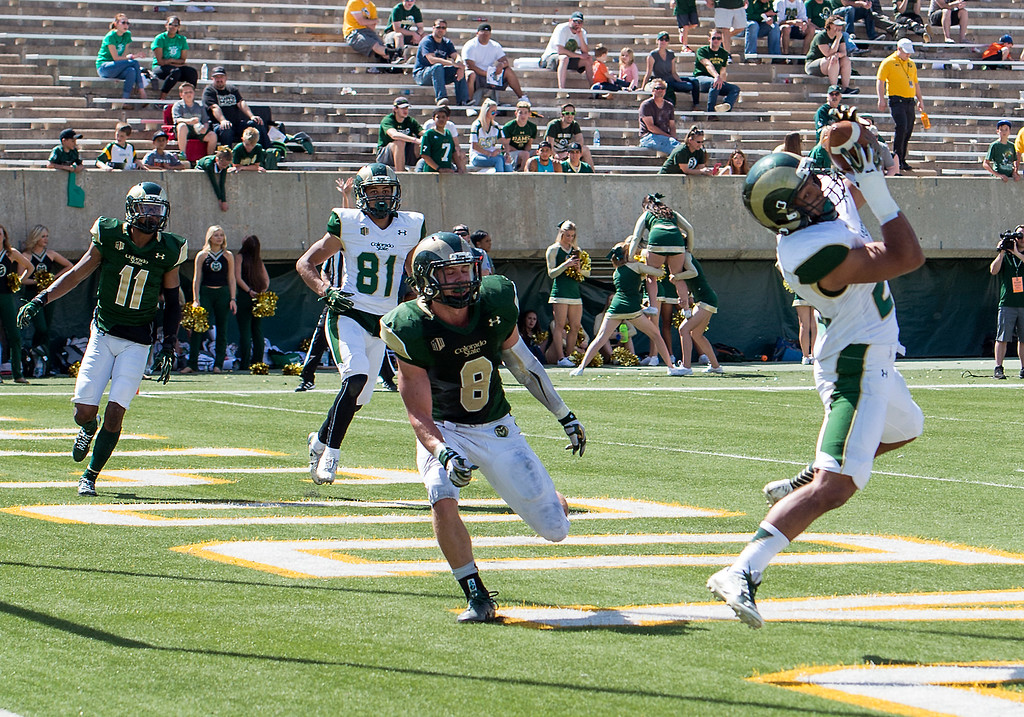 . Rams safety Jake Schlager (8) grimaces as wide receiver Marcus Wilson (23) snags a touchdown catch Saturday afternoon April 23, 2016 during the 2016 Green and Gold Spring Game at Hughes Stadium in Fort Collins. (Photo by Michael Brian/Loveland Reporter-Herald)