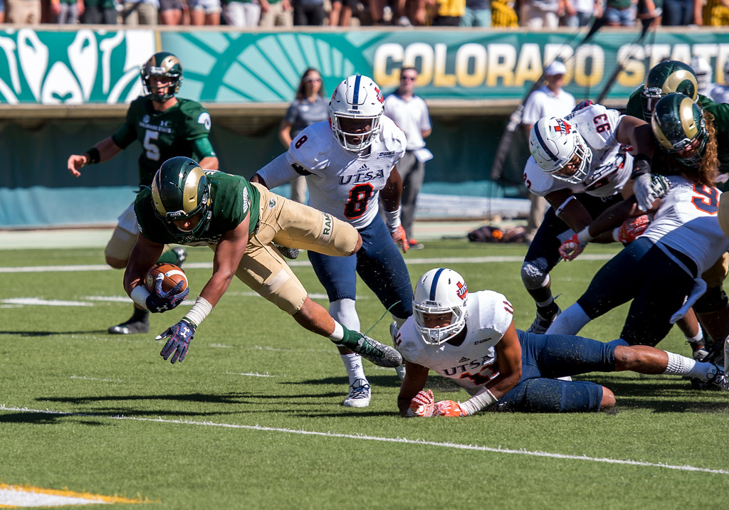 . Colorado State running back Izzy Matthews (35) breaks free of the UTSA defense and dives into the end zone for a Rams touchdown Saturday afternoon Sept. 10, 2016 at Hughes Stadium in Fort Collins. The Rams beat the Roadrunners, 23-14. (Photo by Michael Brian/Loveland Reporter-Herald)