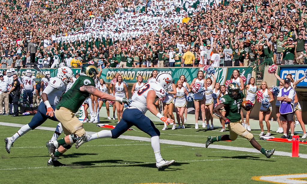 . Colorado State junior running back Dalyn Dawkins (1) strides across the goal line for a touchdown against the UTSA Roadrunners Saturday afternoon Sept. 10, 2016 at Hughes Stadium in Fort Collins. The Rams beat the Roadrunners, 23-14. (Photo by Michael Brian/Loveland Reporter-Herald)