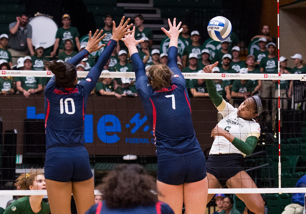 . Colorado State outside hitter Jasmine Hanna (6) smacks a shot against Fresno State Thursday evening Sept. 22, 2016 at Moby Arena in Fort Collins. (Photo by Michael Brian/Loveland Reporter-Herald)