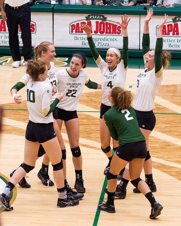. Colorado State celebrates a first set 29-27 win against Fresno State Thursday evening Sept. 22, 2016 at Moby Arena in Fort Collins. (Photo by Michael Brian/Loveland Reporter-Herald)