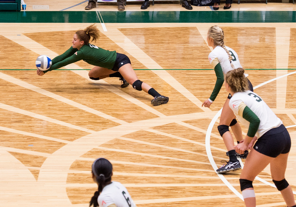 . Rams libero Cassidy Denny dives for a dig against Fresno State Thursday evening Sept. 22, 2016 at Moby Arena in Fort Collins. (Photo by Michael Brian/Loveland Reporter-Herald)