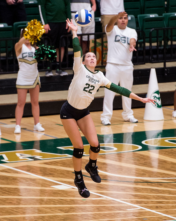 . Colorado State freshman Katie Oleksak (22) serves to Fresno State Thursday evening Sept. 22, 2016 at Moby Arena in Fort Collins. (Photo by Michael Brian/Loveland Reporter-Herald)
