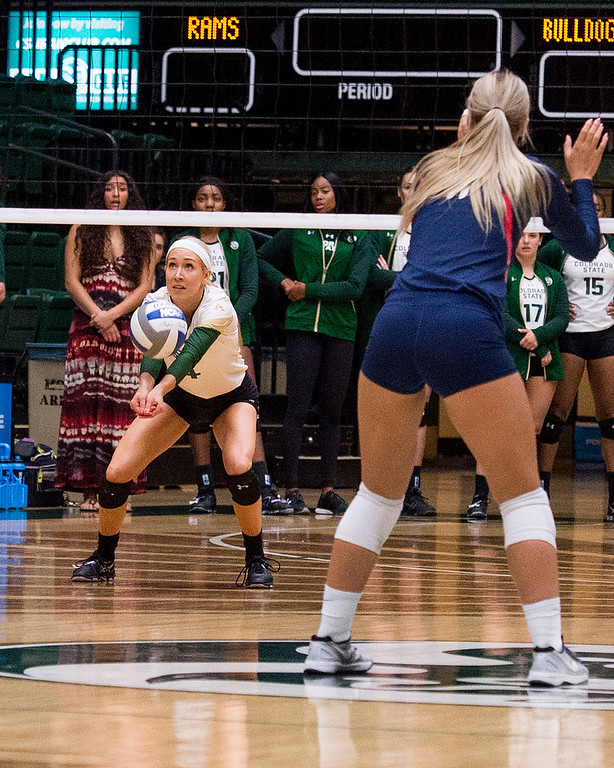 . Rams defensive specialist McKenna Thornlow (4) gets a dig against Fresno State Thursday evening Sept. 22, 2016 at Moby Arena in Fort Collins. (Photo by Michael Brian/Loveland Reporter-Herald)