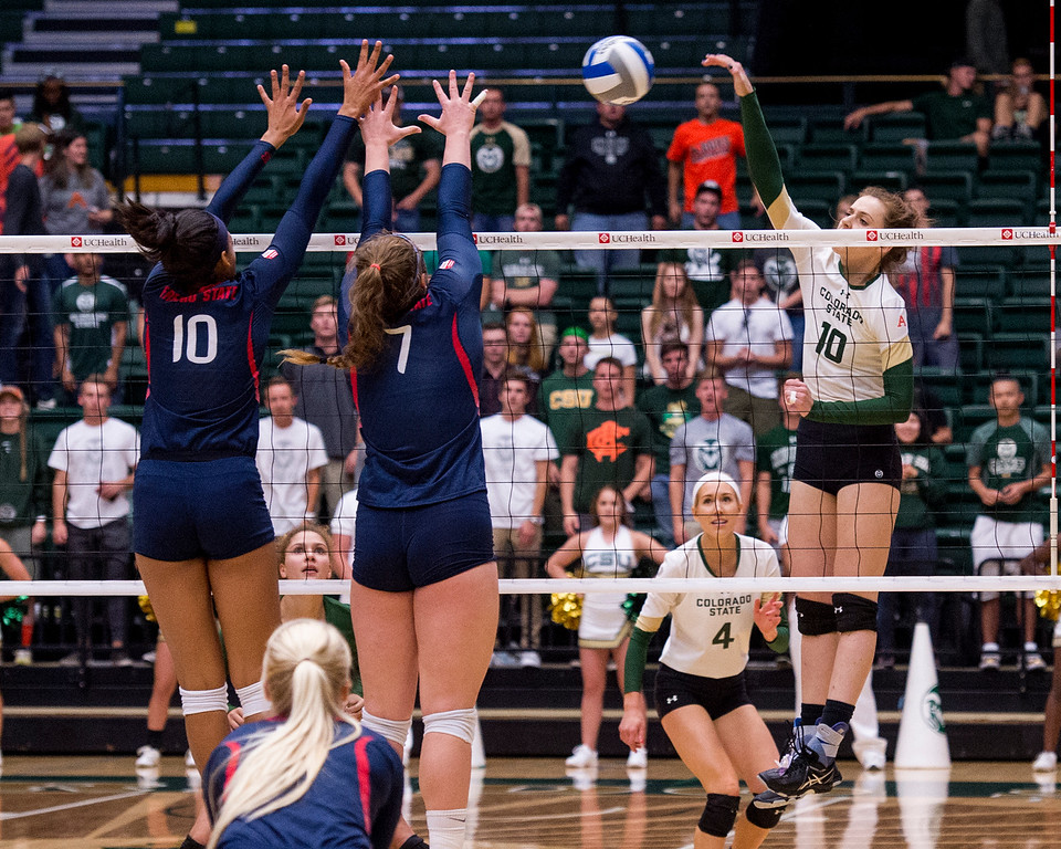 . Rams junior outside hitter Sanja Cizmic (10) drives a shot into the Fresno State defense Thursday evening Sept. 22, 2016 at Moby Arena in Fort Collins. (Photo by Michael Brian/Loveland Reporter-Herald)