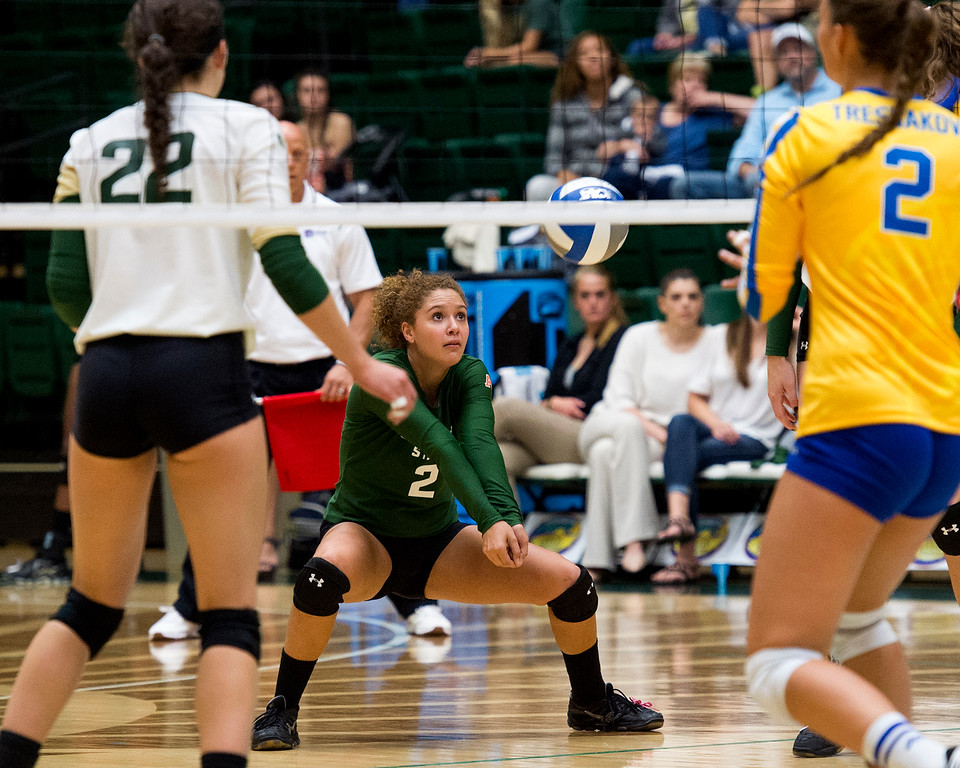 . Colorado State libero Cassidy Denny focuses on a dig against San Jose State Saturday afternoon Sept. 24, 2016. (Photo by Michael Brian/Loveland Reporter-Herald)