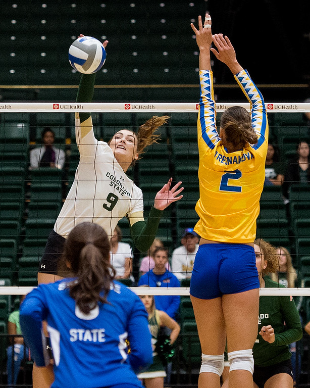 . Colorado State middle blocker Paulina Hougaard-Jensen (9) gets up for a kill against San Jose State Saturday afternoon Sept. 24, 2016. The Rams downed the Spartans in straight sets, 3-0. (Photo by Michael Brian/Loveland Reporter-Herald)