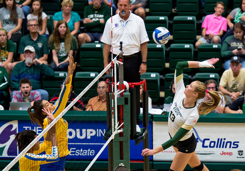 . Colorado State middle blocker Kirstie Hillyer (13) fires a shot into the San Jose State defense Saturday afternoon Sept. 24, 2016 as the Rams prevailed, 3-0. (Photo by Michael Brian/Loveland Reporter-Herald)