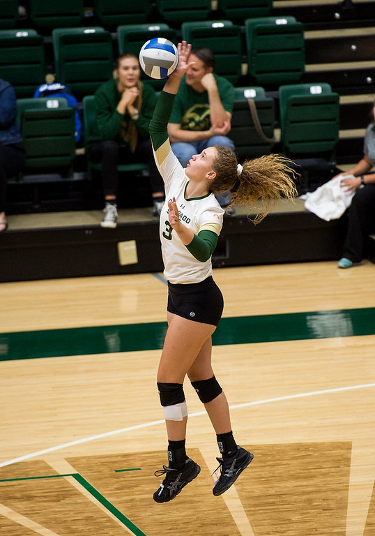 . Colorado State outside hitter Olivia Nicholson (3) serves against San Jose State Saturday afternoon Sept. 24, 2016. The Rams downed the Spartans in straight sets, 3-0. (Photo by Michael Brian/Loveland Reporter-Herald)