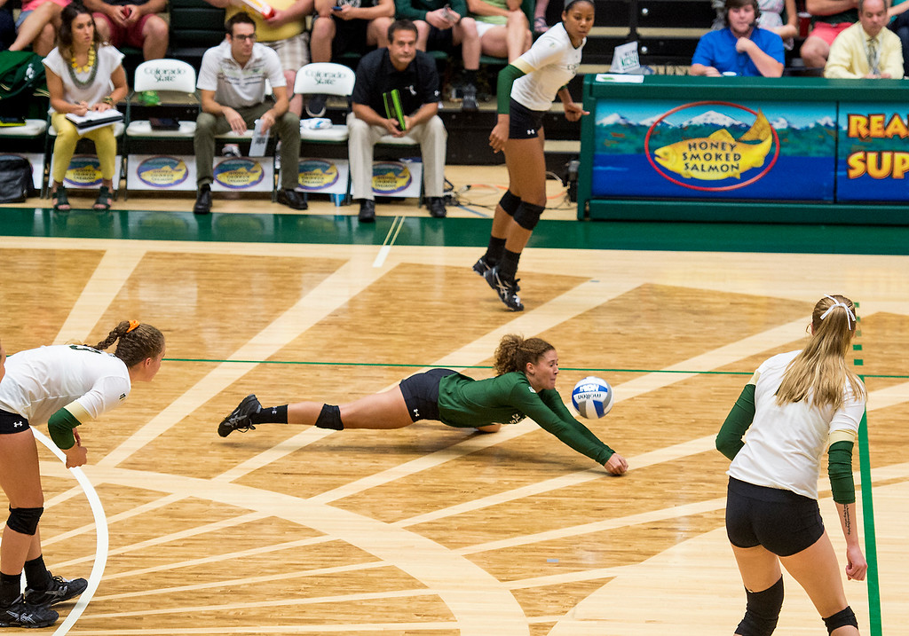 . Colorado State defensive specialist Cassidy Denny (2) lays out for a dig Saturday evening August 27, 2016 against St. Mary\'s at Moby Arena in Fort Collins. (Photo by Michael Brian/Loveland Reporter-Herald)