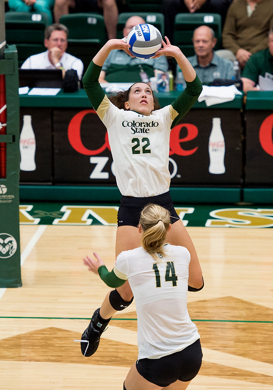 . Freshman Katie Oleksak (22) sets the ball for teammate Alexandra Poletto (14) Saturday evening August 27, 2016 as the Rams faced the St. Mary\'s Gaels at Moby Arena in Fort Collins. (Photo by Michael Brian/Loveland Reporter-Herald)