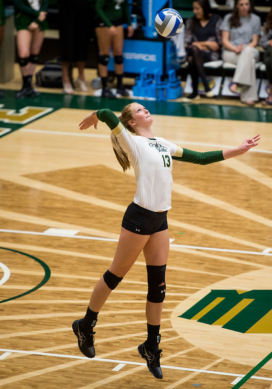 . Rams freshman Kirstie Hillyer (13) serves against St. Mary\'s Saturday evening August 27, 2016 at Moby Arena in Fort Collins. (Photo by Michael Brian/Loveland Reporter-Herald)