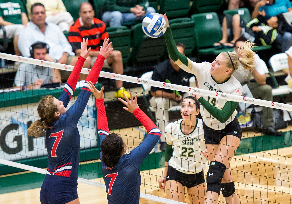 . Colorado State junior Alexandra Poletto (14), right, drives a shot Saturday evening August 27, 2016 into the St. Mary\'s defense of Lindsey Knudsen (17), left, and Aubrey Pitts (7), center, as the two teams faced off at Moby Arena in Fort Collins. (Photo by Michael Brian/Loveland Reporter-Herald)