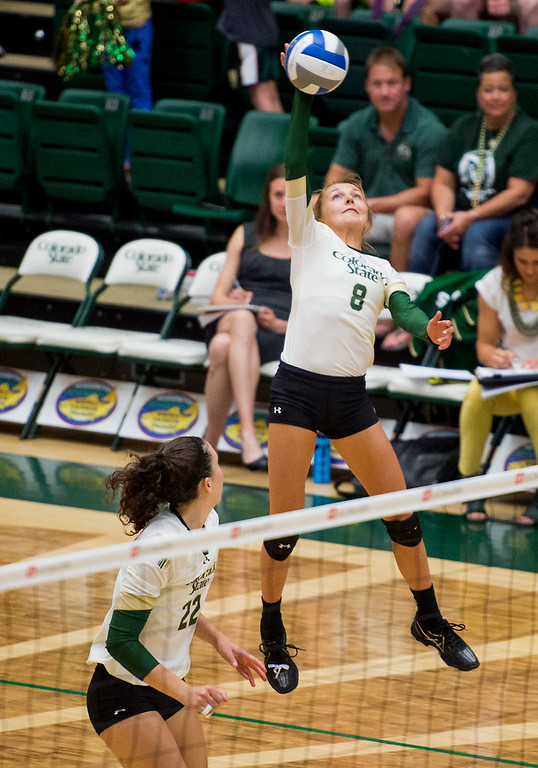 . Colorado State freshman Amanda Young rises up for a shot Saturday evening August 27, 2016 against St. Mary\'s at Moby Arena in Fort Collins. (Photo by Michael Brian/Loveland Reporter-Herald)